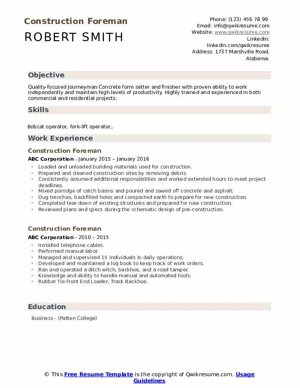 construction foreman resume samples qwikresume experience pdf sample for someone with Resume Construction Experience Resume