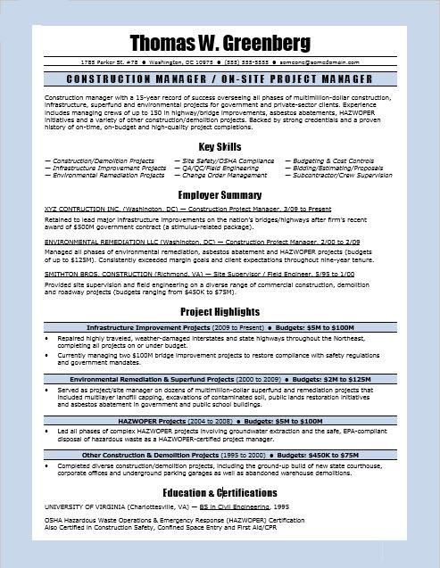 construction manager resume sample monster project examples incident and problem Resume Construction Project Manager Resume Examples