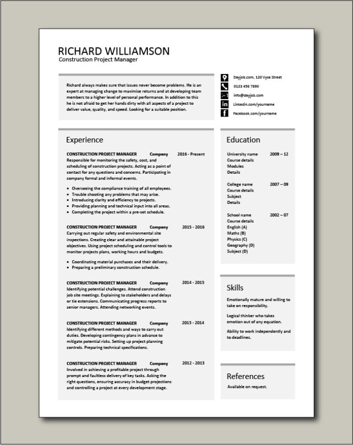 construction project manager resume example sample building work ability budget controls Resume Project Oriented Resume