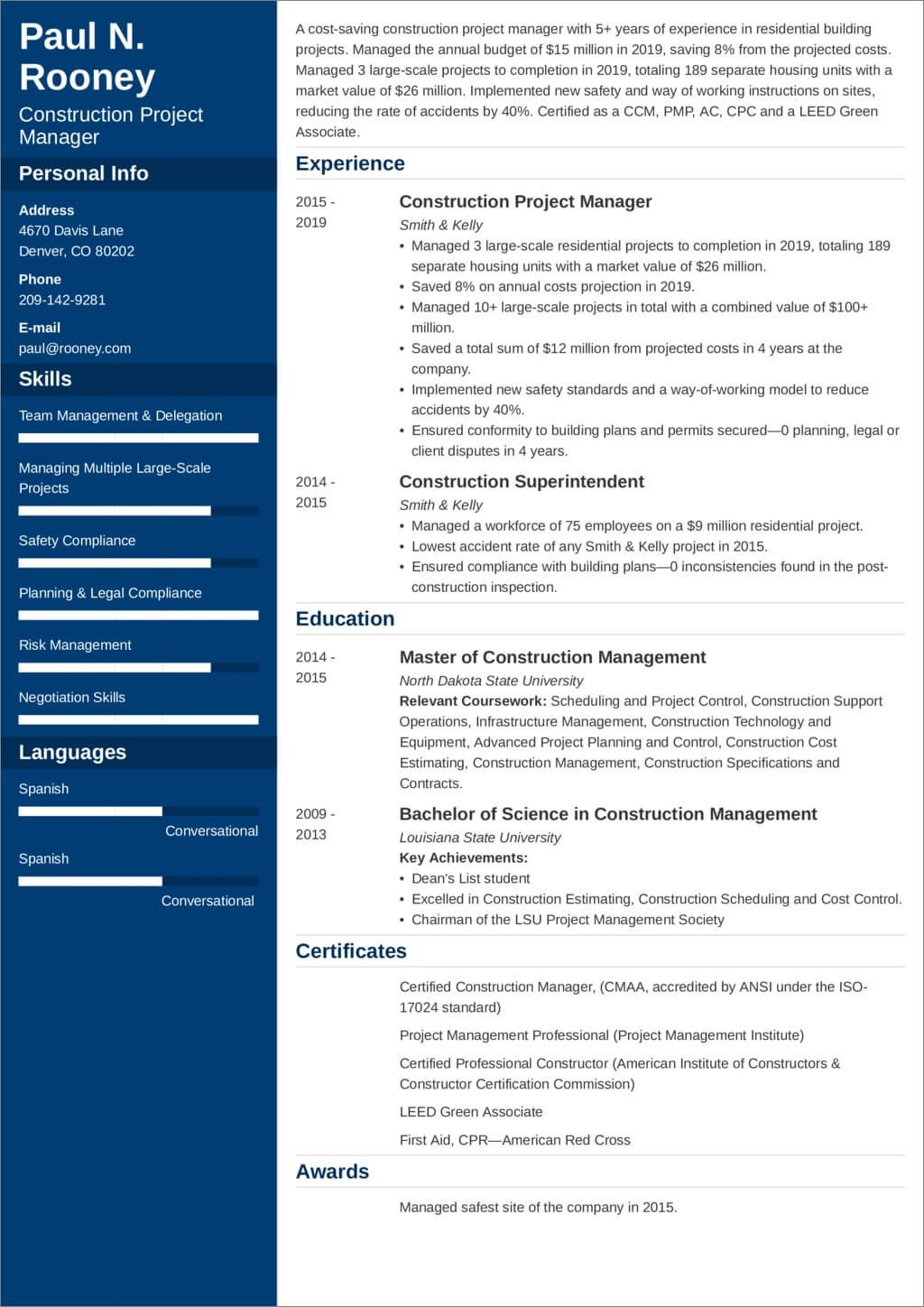 construction project manager resume sample and tips management professional rl travel Resume Project Management Professional Resume Sample