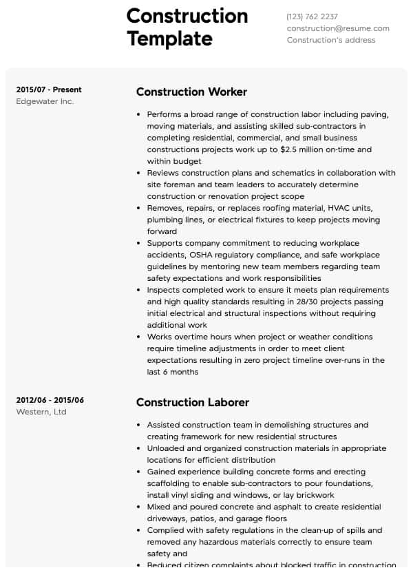 construction resume samples all experience levels kaplan format for assistant manager Resume Construction Experience Resume