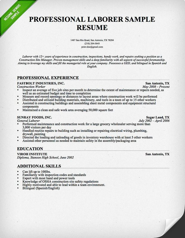 construction worker resume sample genius professional samples examples skills experience Resume Construction Experience Resume