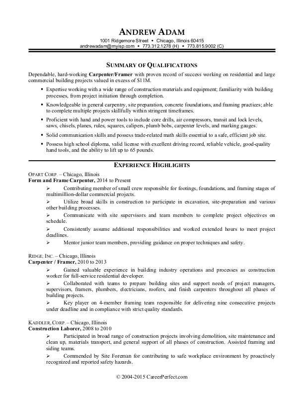 construction worker resume sample monster experience simple cover letter for the place Resume Construction Experience Resume