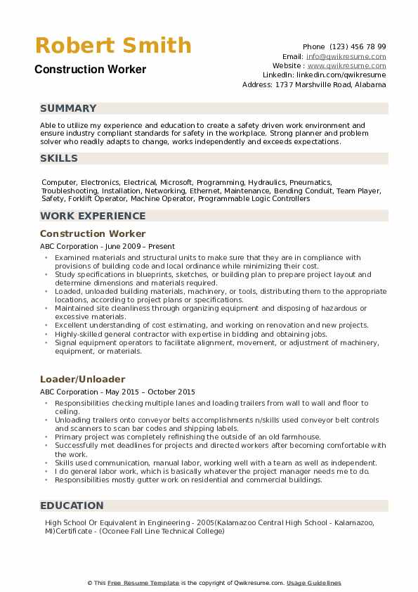 construction worker resume samples qwikresume experience pdf chef cover letter template Resume Construction Experience Resume