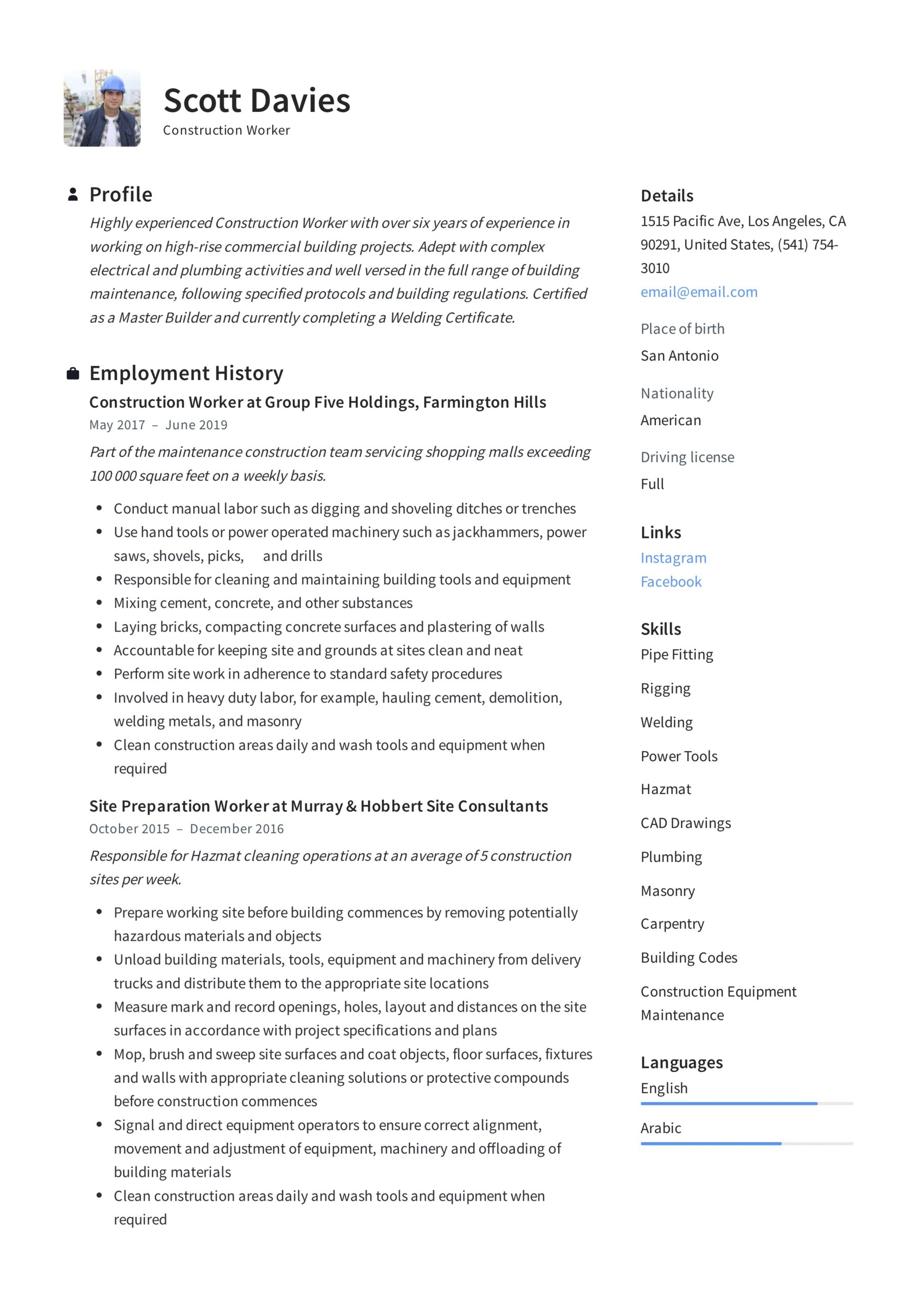 construction worker resume writing guide templates experience student template word chef Resume Construction Experience Resume