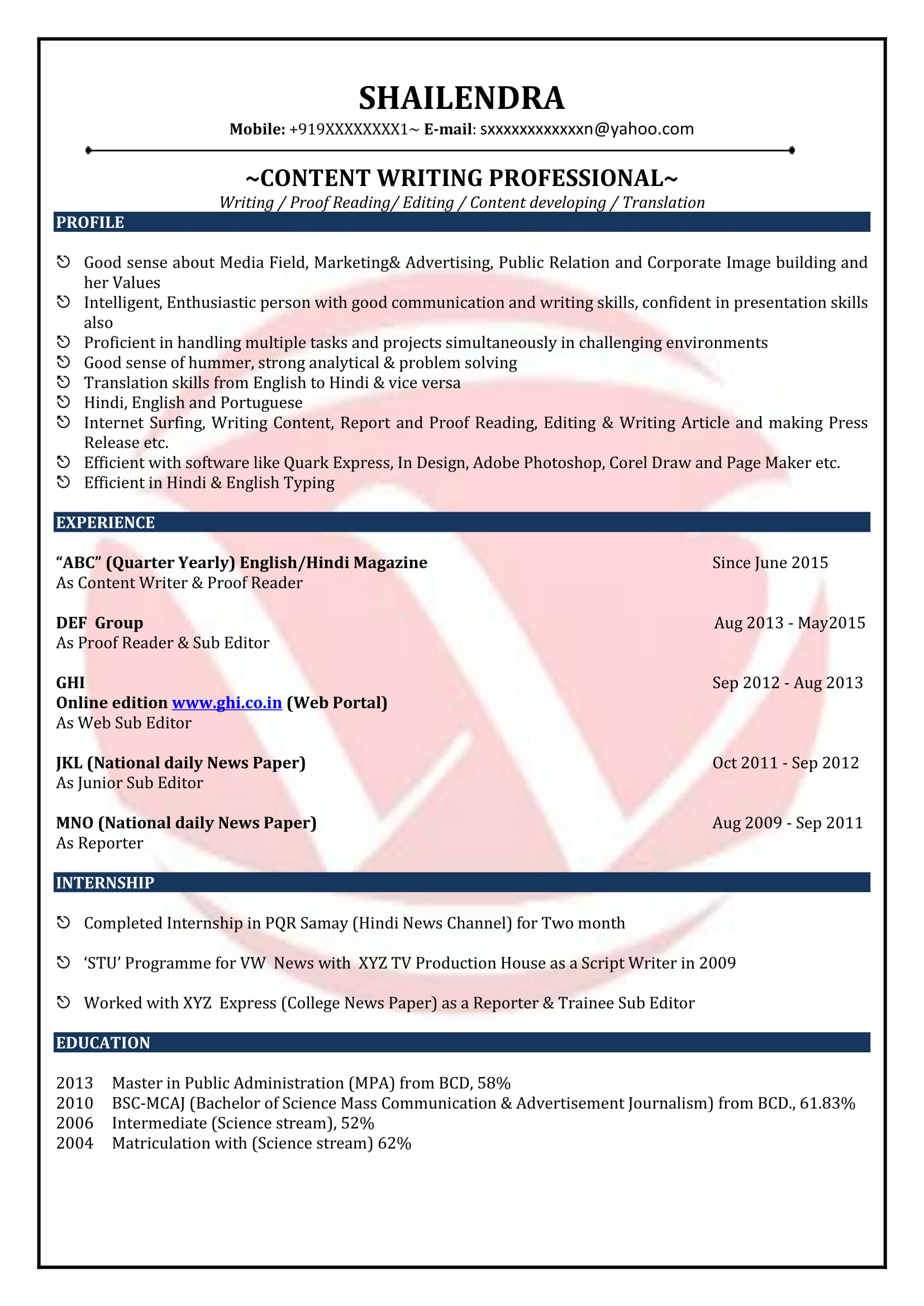content writer sample resumes resume format templates samples teaching examples high Resume Content Writer Resume Samples
