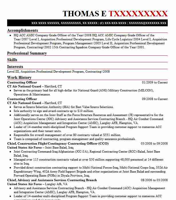 contracting officer resume example resumes livecareer government system analyst financial Resume Government Contracting Officer Resume