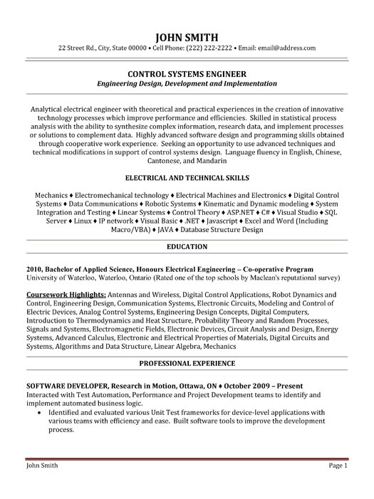 control systems engineer resume sample template controls student writing lab format for Resume Controls Engineer Resume