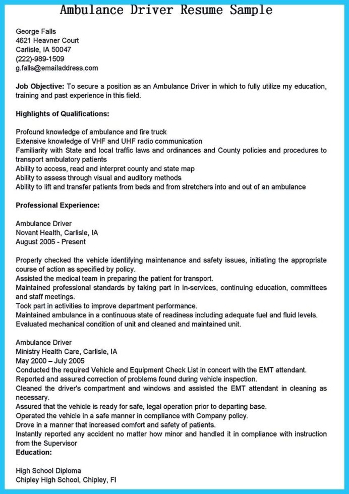 cool stunning bus driver resume to gain the serious job jobs examples ambulance for Resume Resume For Bus Driver Position