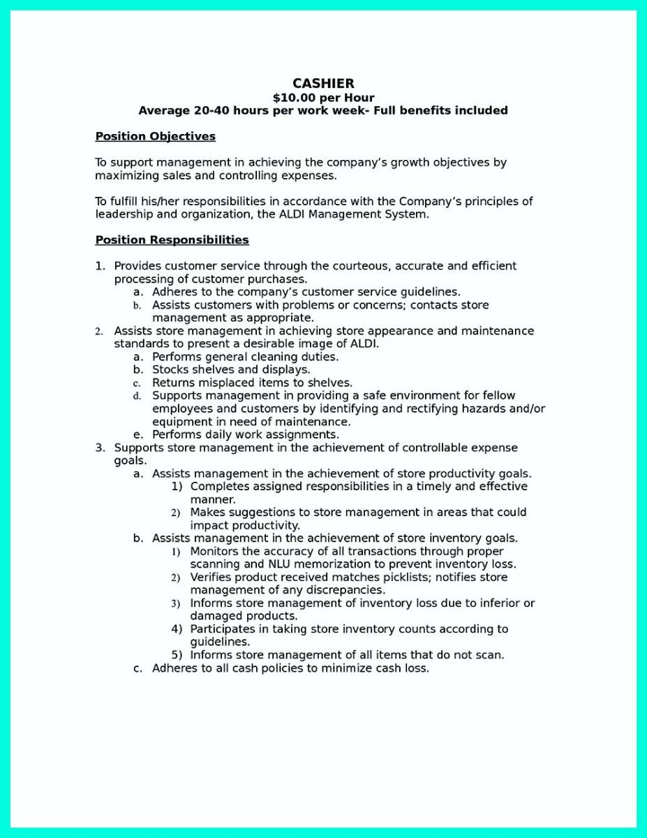 cool terrible mistakes to avoid when you make your cashier resume examples sample aldi Resume Aldi Resume Application