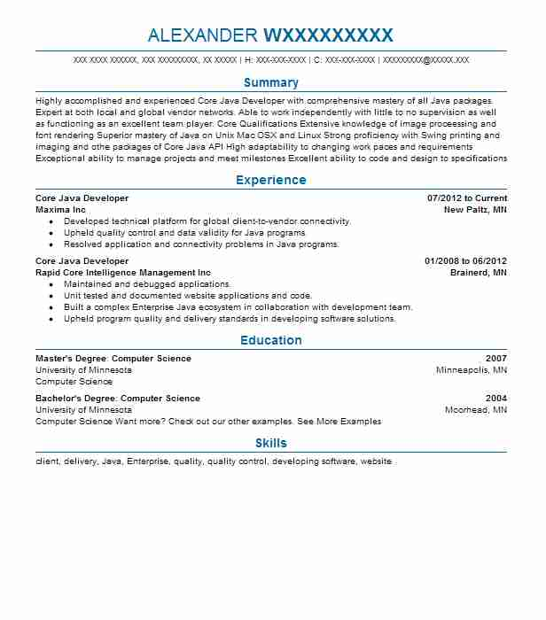 core developer resume example resumes livecareer objective for directional drilling pre Resume Objective For Resume For Developer
