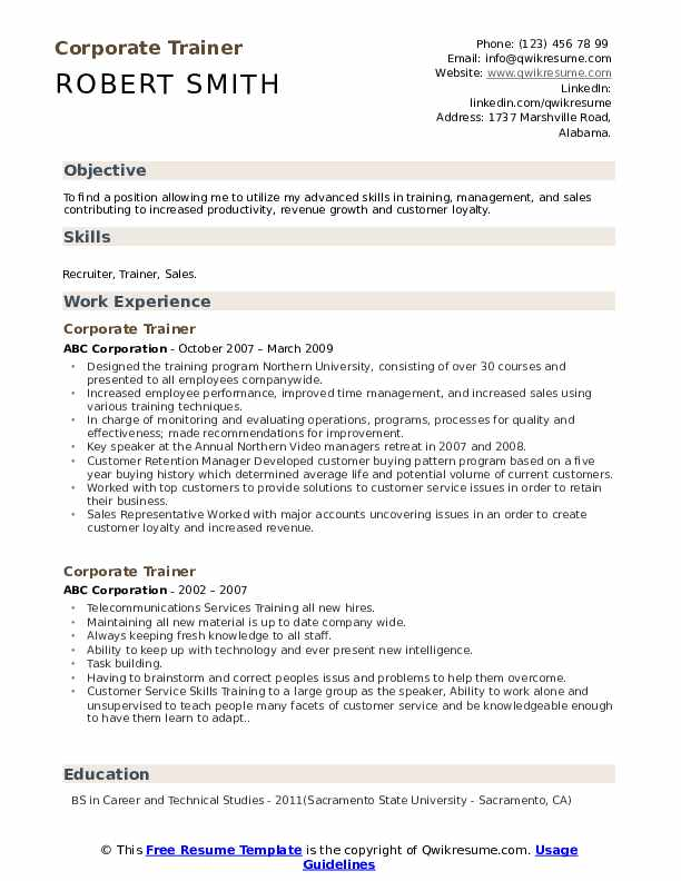corporate trainer resume samples qwikresume for position pdf csuf builder finance Resume Resume For Trainer Position