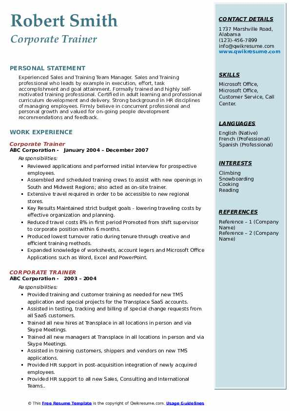 corporate trainer resume samples qwikresume for position pdf entry level cna objective Resume Resume For Trainer Position