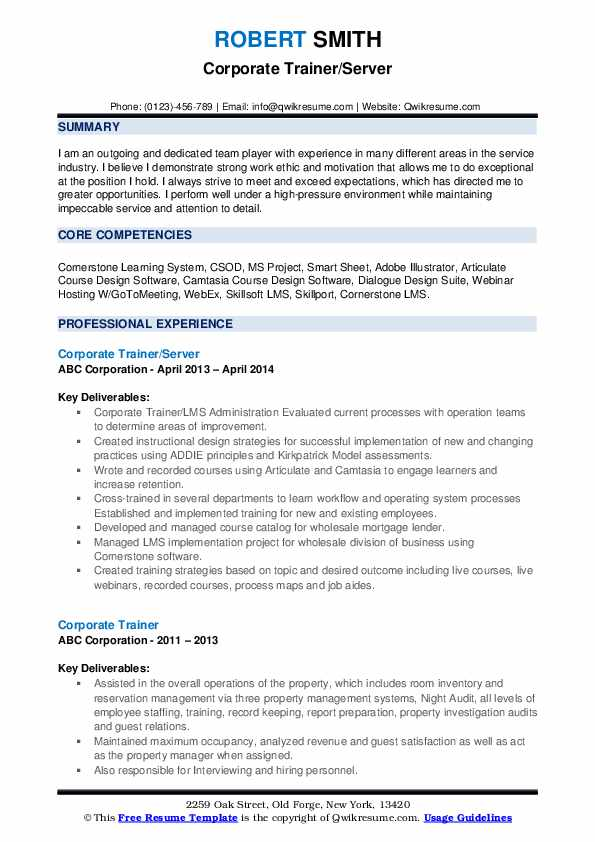 corporate trainer resume example for position ex07 landscape construction mainframe Resume Resume For Trainer Position