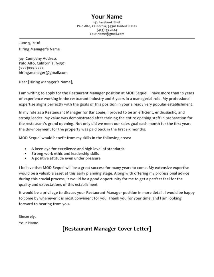 cover letter samples to format with examples restaurant manager resume sample Resume Restaurant Manager Resume Cover Letter