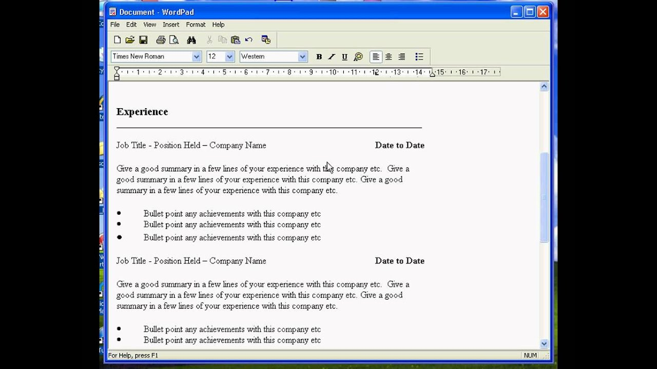 create resume in wordpad templates format tcs upload software for windows entry level Resume Resume Templates Wordpad Format