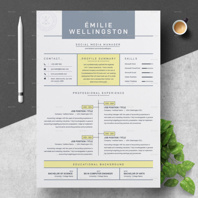 creative professional resume cv template by resumeinventor graphicriver clean and modern Resume Creative And Professional Resume