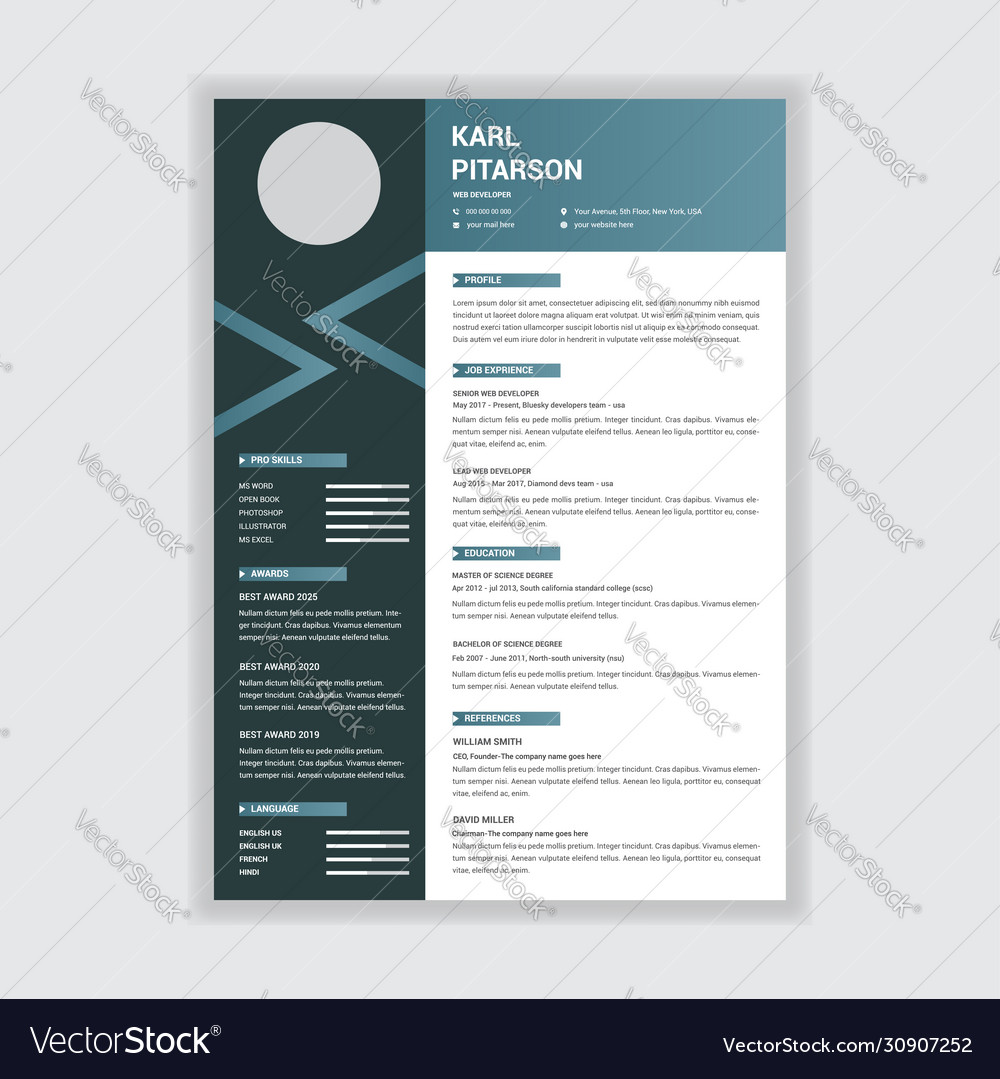 creative professional resume template design vector image and heavy duty diesel mechanic Resume Creative And Professional Resume
