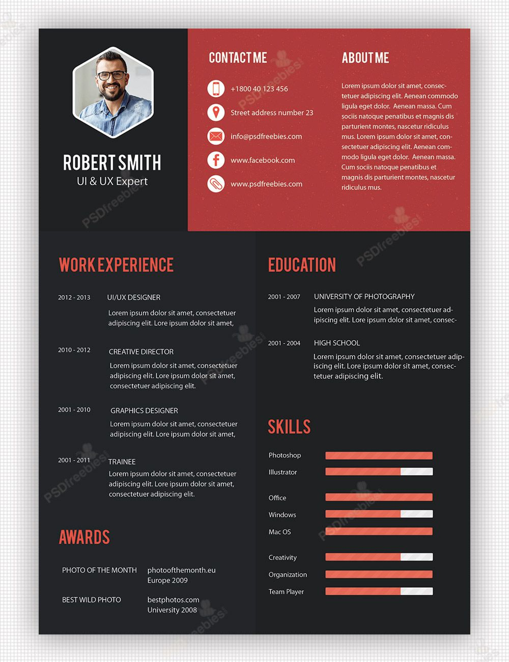creative professional resume template free psdfreebies unique and hobbies good for Resume Creative And Professional Resume