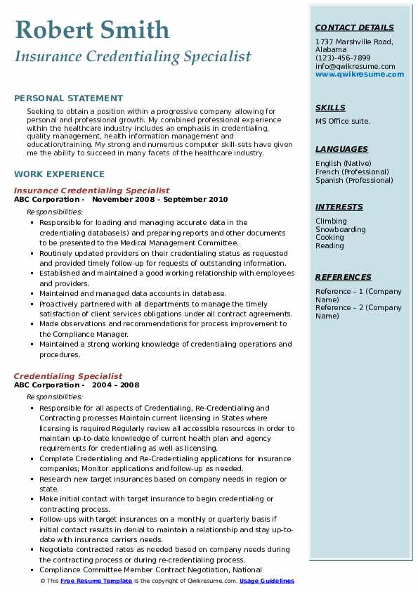 credentialing specialist resume samples qwikresume sample pdf two sided curriculum vitae Resume Credentialing Specialist Resume Sample