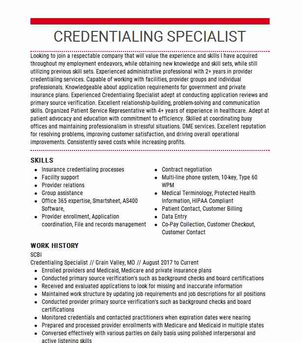 credentialing team lead resume example msla medical corporation divison of Resume Credentialing Specialist Resume Sample