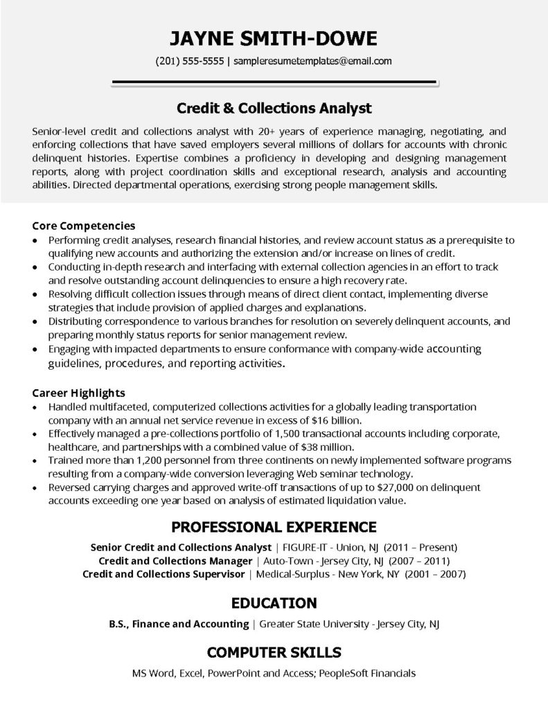 credit and collections analyst resume sample templates supervisor pdf 791x1024 truck Resume Credit And Collections Supervisor Resume
