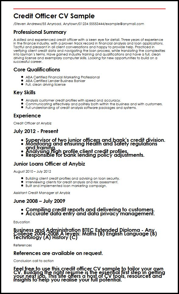credit officer cv example myperfectcv loan resume objective examples sample oracle upload Resume Loan Officer Resume Objective Examples