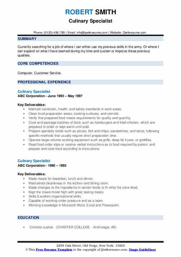 culinary specialist resume samples qwikresume examples pdf annotated disaster management Resume Culinary Resume Examples