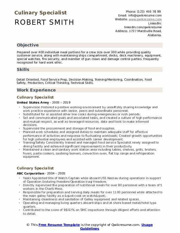 culinary specialist resume samples qwikresume examples pdf employment history disaster Resume Culinary Resume Examples