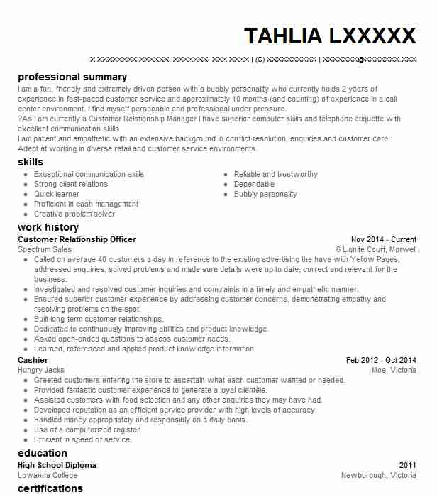 customer relationship officer resume example livecareer relations levels of skills on Resume Customer Relations Officer Resume