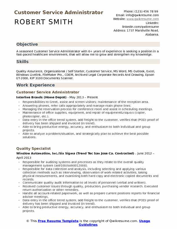customer service administrator resume samples qwikresume template free pdf stanford guide Resume Customer Service Resume Template Free