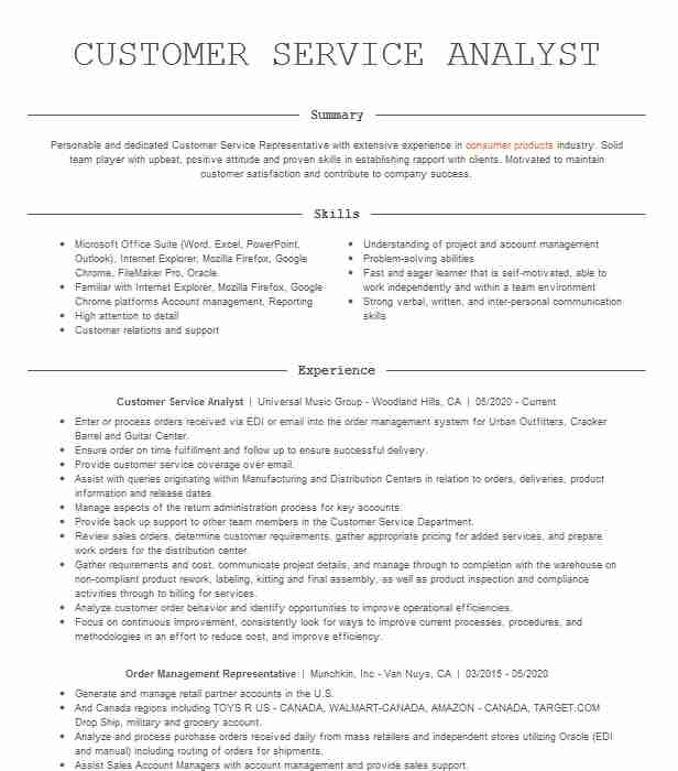 customer service analyst resume example resumes livecareer examples administrative Resume Restful Web Services Resume Points