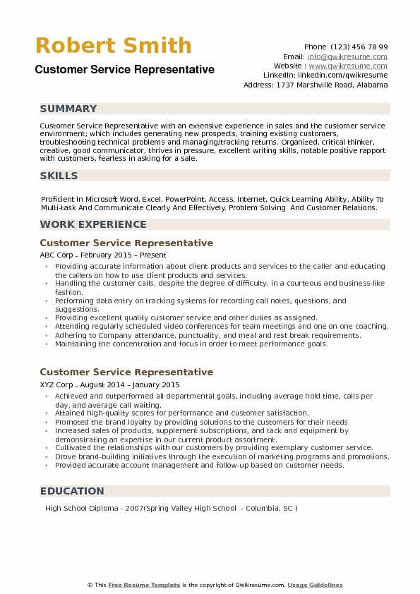 customer service representative resume samples qwikresume template free pdf radiologic Resume Customer Service Resume Template Free