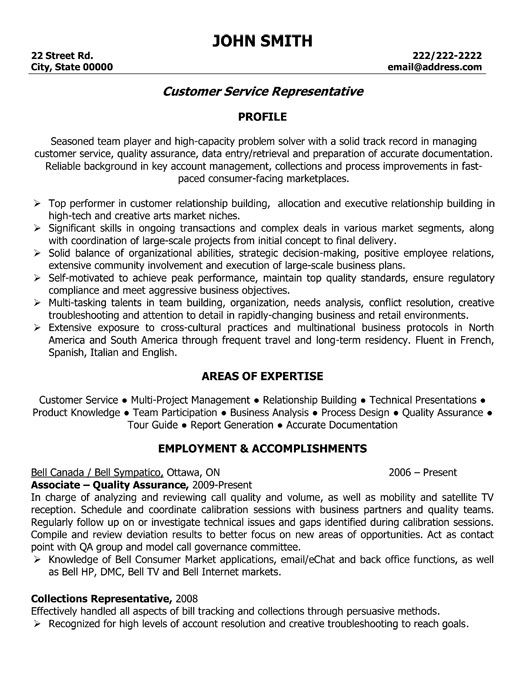 customer service representative resume template want it job samples sample collections Resume Collections Representative Resume