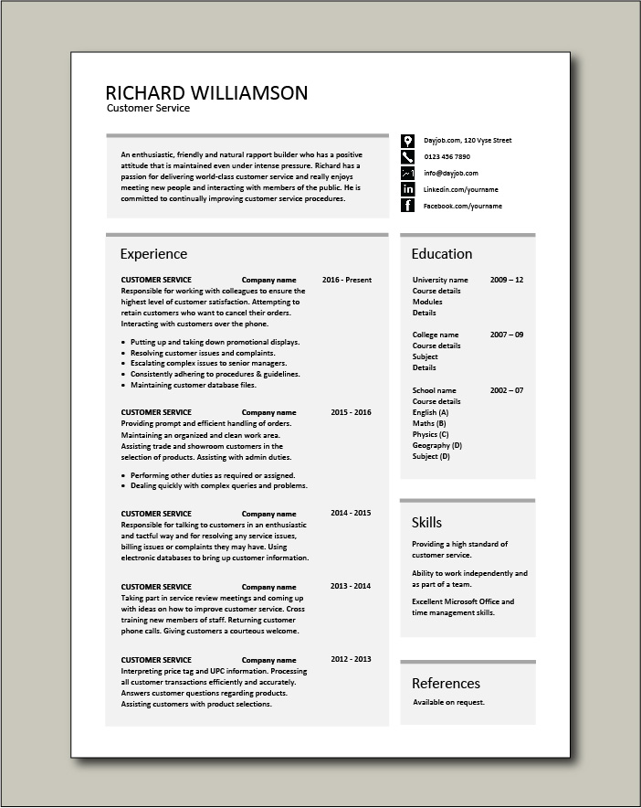 customer service resume templates skills services cv job description examples good Resume Customer Service Resume Template Free