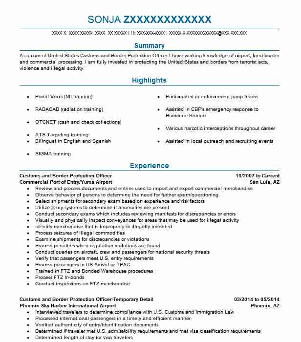 customs and border protection resume write essays for money patrol template certified Resume Border Patrol Resume Template