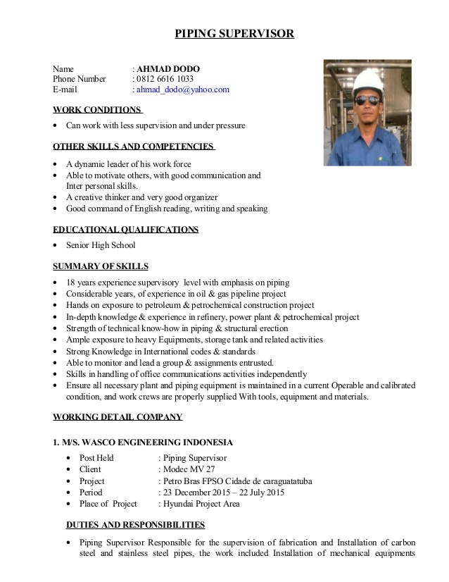 cv dodo new piping supervisor resume usajobs tips template college student internship Resume Piping Supervisor Resume