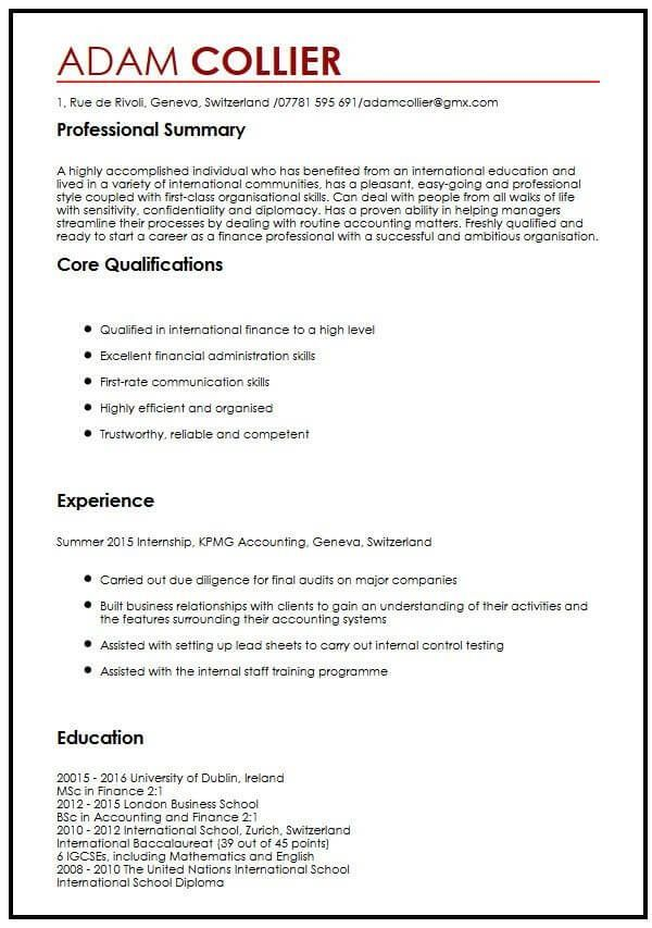 cv example for international students myperfectcv examples template resume nations itil Resume United Nations Resume Example