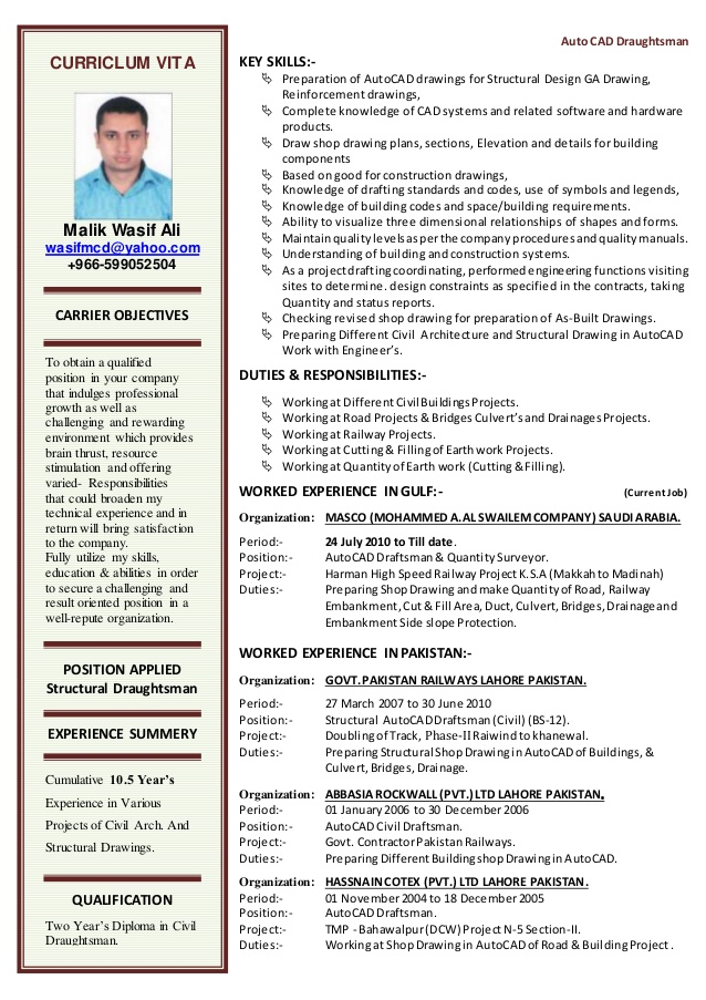 cv for autocad draftsman drafting resume programming projects indian school teacher Resume Autocad Drafting Resume