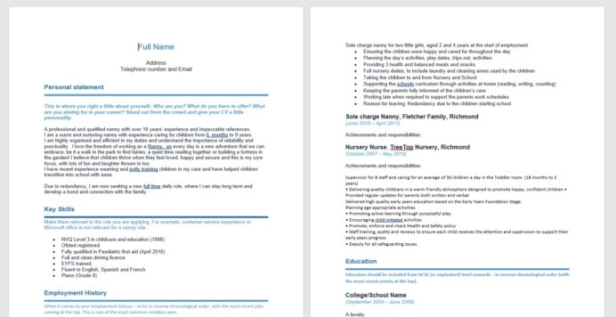 cv for nannies made easy our handy nanny template absolute childcare duties resume army Resume Nanny Duties For Resume