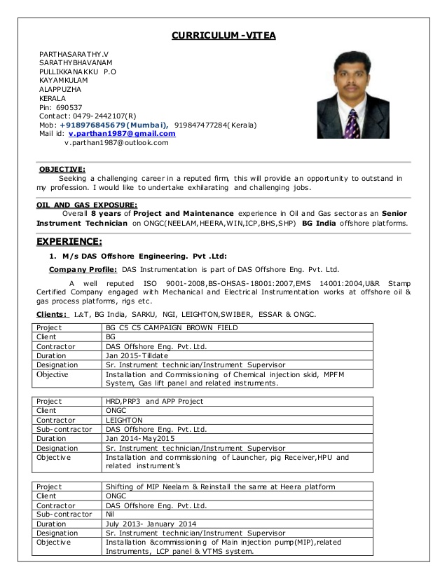 cv for sr instrument technician in years exp electrical and instrumentation supervisor Resume Electrical And Instrumentation Supervisor Resume