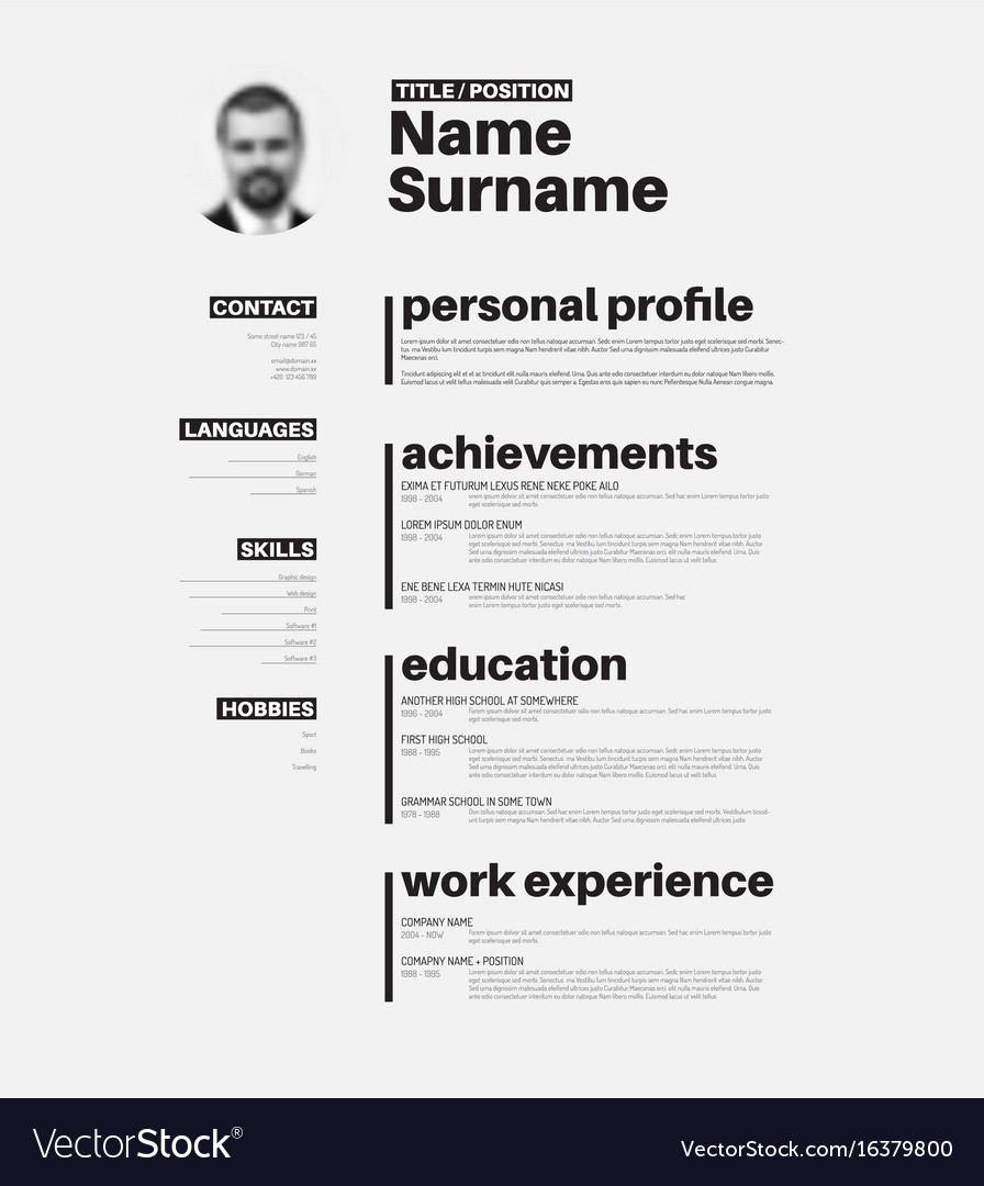 cv resume template with nice typography royalty free vector keywords for manufacturing Resume Typography Resume Template