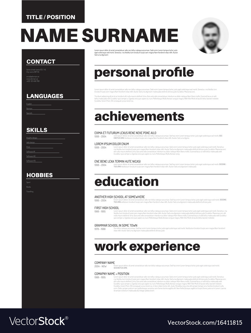 cv resume template with nice typography royalty free vector sample for rbt keywords Resume Typography Resume Template