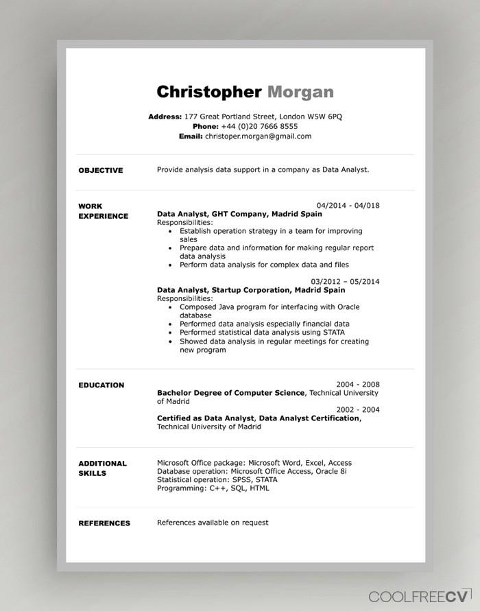 cv resume templates examples word example template programmer equity trader director of Resume Example Resume Template Word