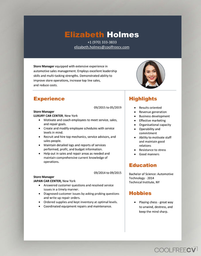 cv resume templates examples word new model modern with photo01 builder for teens general Resume New Resume Model Download