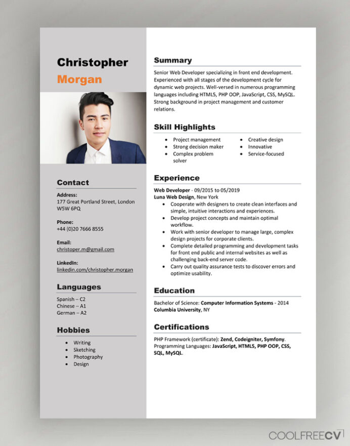 cv resume templates examples word one template free with photo technical writer kelly Resume One Page Resume Template Word Free