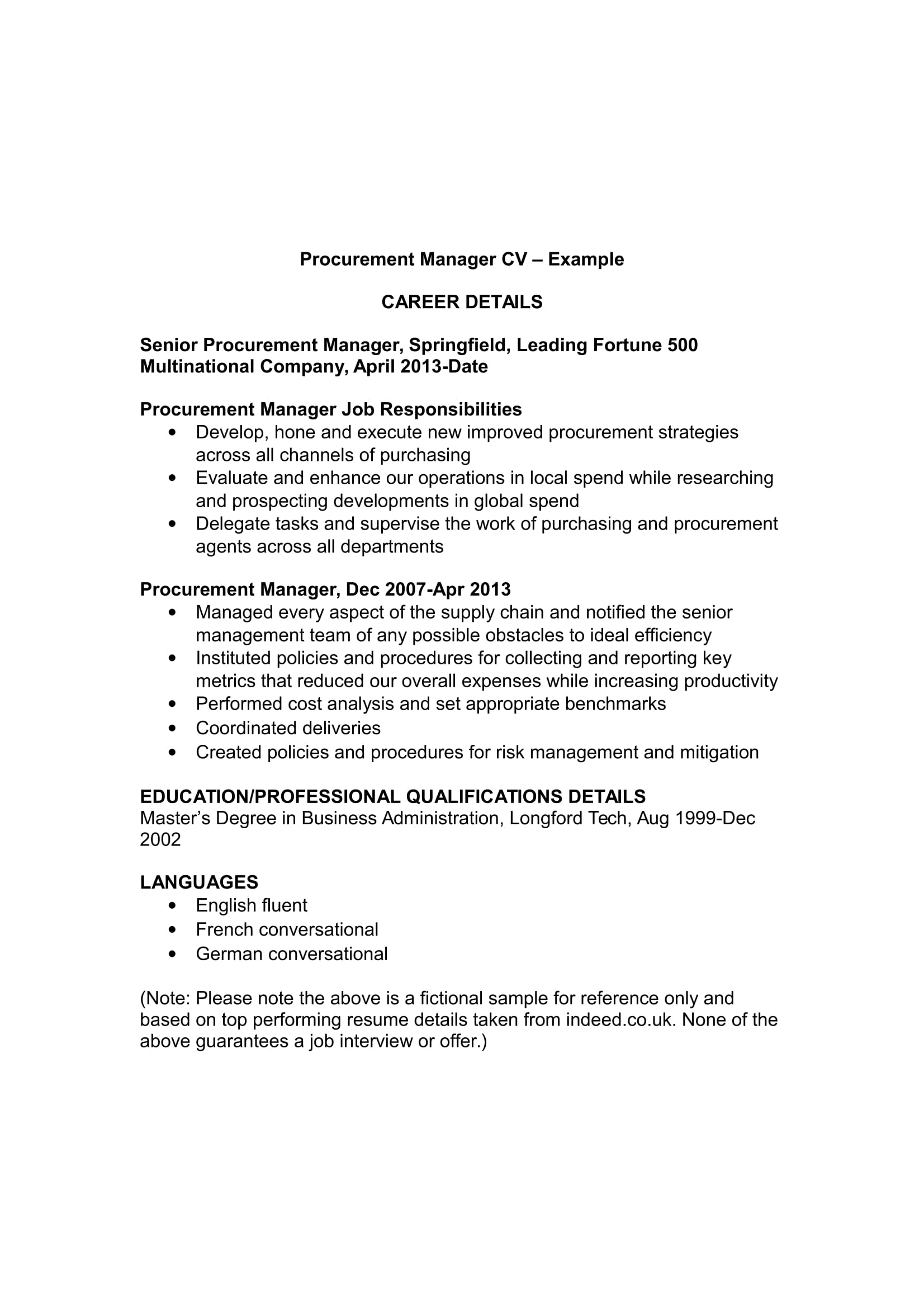 cv sample for purchase manager purchasing resume examples format procurement template Resume Resume Format For Procurement Manager