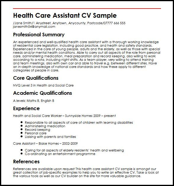 cv template healthcare health care assistant personal resume examples etiquette project Resume Personal Care Assistant Resume Examples