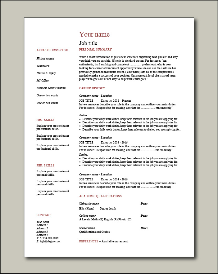 cv templates impress employers image of resume for job application free template builder Resume Image Of Resume For Job Application