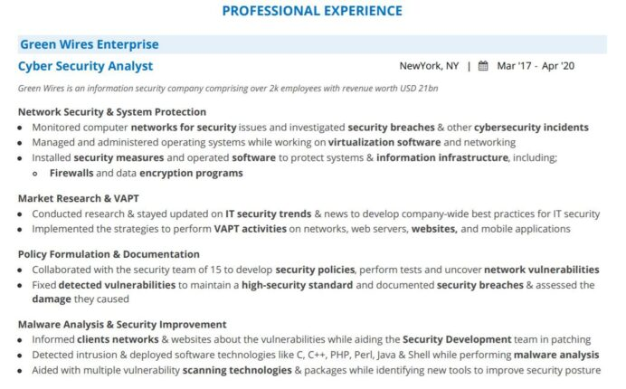 cyber security analyst resume guide with examples entry level sample professional Resume Entry Level Cyber Security Analyst Resume Sample
